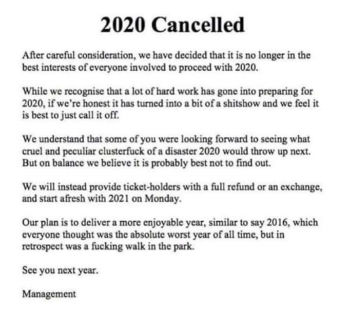 '2020 Cancelled' announcement meme